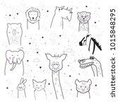 animal cartoon set isolated on... | Shutterstock .eps vector #1015848295