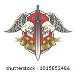 pair winged skulls and swords... | Shutterstock .eps vector #1015852486