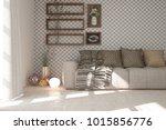idea of white minimalist room... | Shutterstock . vector #1015856776