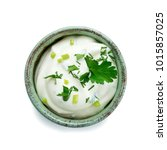 bowl of sour cream dip sauce... | Shutterstock . vector #1015857025