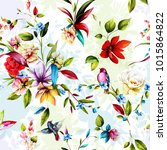 seamless floral background... | Shutterstock .eps vector #1015864822