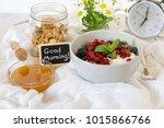 a bowl with yogurt  granola ... | Shutterstock . vector #1015866766