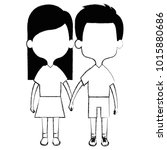 cute and little kids couple... | Shutterstock .eps vector #1015880686
