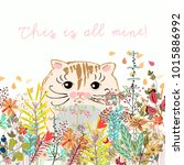 cute illustration with cat... | Shutterstock .eps vector #1015886992