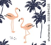 palm trees silhouette and blush ... | Shutterstock .eps vector #1015894135