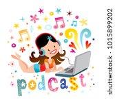 sexy girl listening music... | Shutterstock .eps vector #1015899202