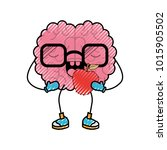 brain cartoon with glasses and... | Shutterstock .eps vector #1015905502