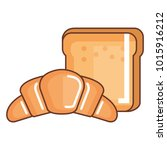 bread toast with croissant... | Shutterstock .eps vector #1015916212