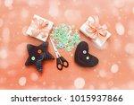 soft handmade toys. materials... | Shutterstock . vector #1015937866