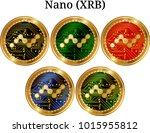 set of physical golden coin... | Shutterstock .eps vector #1015955812