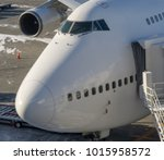 close up front of airplane... | Shutterstock . vector #1015958572
