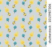 cute wild giraffe seamless... | Shutterstock .eps vector #1015987306
