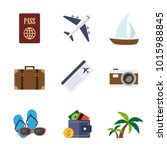 travel flat icons in set...   Shutterstock .eps vector #1015988845