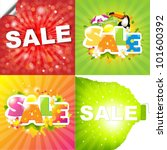 4 colorful sale posters with... | Shutterstock .eps vector #101600392
