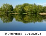 Calm River And Green Trees On...