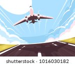 passenger plane takes off from... | Shutterstock .eps vector #1016030182