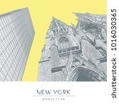new york. the cathedral of st.... | Shutterstock .eps vector #1016030365