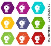 fire alarm icon set many color... | Shutterstock .eps vector #1016030752