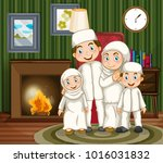 muslim family by the fireplace... | Shutterstock .eps vector #1016031832