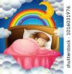 bedtime with girl sleeping in...   Shutterstock .eps vector #1016031976