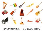 musical instrument icon set.... | Shutterstock .eps vector #1016034892