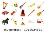 musical instrument icon set.... | Shutterstock .eps vector #1016034892