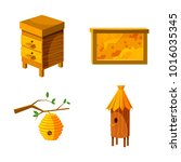 bee house icon set. cartoon set ... | Shutterstock .eps vector #1016035345