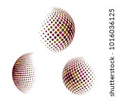 set of abstract round 3d... | Shutterstock .eps vector #1016036125