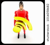 superhero holding rss feed icon ... | Shutterstock . vector #1016058682