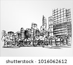 big city panorama future people ... | Shutterstock .eps vector #1016062612