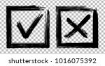 symbolic x and ok brush icons... | Shutterstock .eps vector #1016075392