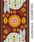 folk card in scandinavian style.... | Shutterstock .eps vector #1016087452