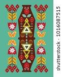 folk card in scandinavian style.... | Shutterstock .eps vector #1016087515