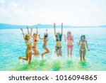view of group of friends having ... | Shutterstock . vector #1016094865