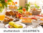 breakfast or brunch table... | Shutterstock . vector #1016098876