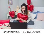 cheerful young woman in love    Shutterstock . vector #1016100406