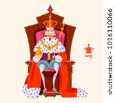 king wearing a crown and royal... | Shutterstock .eps vector #1016110066