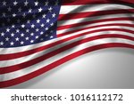 america flag of silk with... | Shutterstock . vector #1016112172