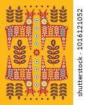 folk card in scandinavian style.... | Shutterstock .eps vector #1016121052