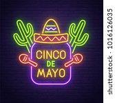 cinco de mayo neon sign  bright ... | Shutterstock .eps vector #1016126035