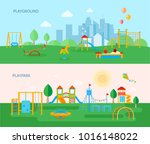 two horizontal playground... | Shutterstock . vector #1016148022