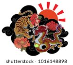 dragon fighting with tiger... | Shutterstock .eps vector #1016148898