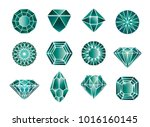 vector set of green diamond ... | Shutterstock .eps vector #1016160145