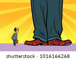 little man and giant boss....   Shutterstock .eps vector #1016166268