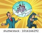 confident businessman offers a... | Shutterstock .eps vector #1016166292