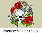 skull tattoo with red roses and ... | Shutterstock .eps vector #1016173612