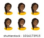 set facial expressions of young ... | Shutterstock .eps vector #1016173915