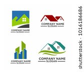 real estate logo set   abstract ... | Shutterstock .eps vector #1016186686