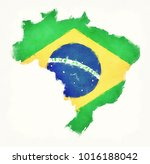 brazil watercolor map with... | Shutterstock . vector #1016188042