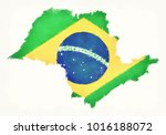 sao paulo watercolor map with... | Shutterstock . vector #1016188072